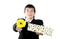 Free Boy With A Gift On The White Background Royalty Free Stock Photos - 4557578