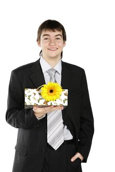 Free Boy With A Gift On The White Background Stock Photos - 4557583