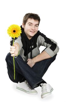 Free Boy With A Gift On The White Background Stock Image - 4557591