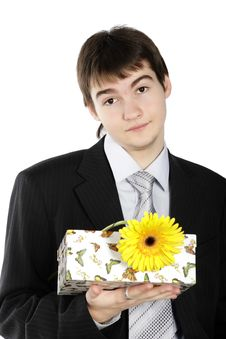 Free Boy With A Gift On The White Background Royalty Free Stock Image - 4557616