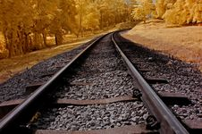 Infrared Photo – Railway, Sky, Landscape And Tre Stock Photography