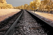 Infrared Photo – Railway, Sky, Landscape And Tre Royalty Free Stock Photo