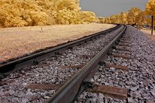 Infrared Photo – Railway, Landscape, And Tree Stock Image