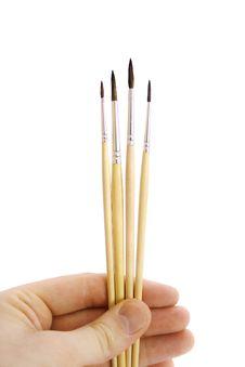 Brush And Human Hand Royalty Free Stock Image