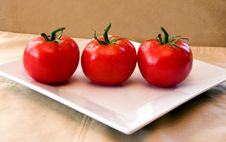 Free 3 Red Vine Ripened Tomatoes On A White Plate. Royalty Free Stock Photo - 4559715