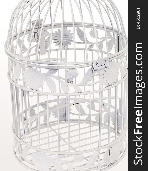 Close up of wire detail of a bird cage.