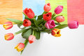 Free Tulips In Vase With Interesting Background Royalty Free Stock Photo - 4560295