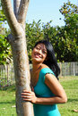 Free Woman Leaning On A Tree Stock Photos - 4564703