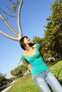Free Woman Leaning On A Tree Stock Images - 4564714