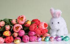 Easter: Tulips, Rabbit, & Eggs Royalty Free Stock Photo