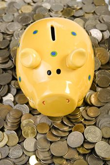 Free Piggy Bank Standing On Coins Stock Images - 4562034