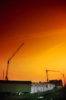 Crane On The Sunset Royalty Free Stock Photography