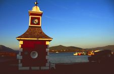 Free Small Harbor With Red Clock Tower Royalty Free Stock Photo - 4564115