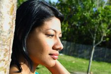 Free Woman S Face Lit By The Sun Royalty Free Stock Images - 4564699
