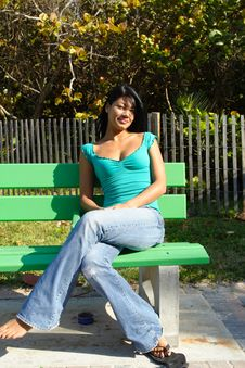 Free Woman On A Bench Stock Photography - 4564732