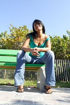 Free Woman On A Bench Stock Photography - 4564782