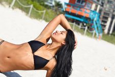 Free Woman Laying On The Hot Beach Stock Photos - 4565213