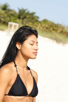 Free Woman Meditating At The Beach Stock Photo - 4565240