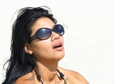 Free Woman With Sunglasses On The Beach Royalty Free Stock Photo - 4565285