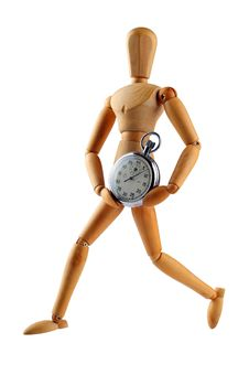 Free Wood Man Running With Stop Watch Royalty Free Stock Images - 4566459