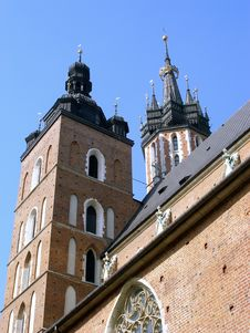 Towers Of Cracovian Mariacki Church In Old City In Royalty Free Stock Photography