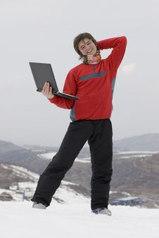 Free Happy Teens With Laptop Royalty Free Stock Photography - 4567107