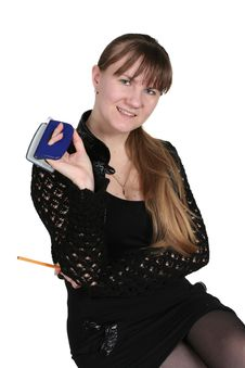 Free Girl With Hole-puncher Royalty Free Stock Photos - 4568318
