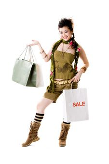 Free Woman Happy Shopping Stock Photography - 4568932