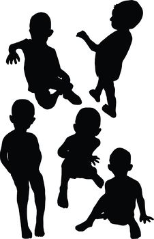 Silhouette Of Kids Royalty Free Stock Photos