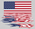 Free USA / US Flag With Reflection Stock Images - 4577004