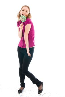 Free The Girl With A Sugar Candy Isolated On A White Stock Photography - 4571902