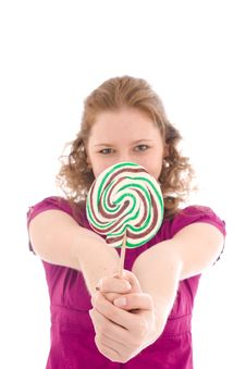 Free The Girl With A Sugar Candy Isolated On A White Stock Image - 4571911