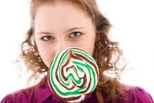 Free The Girl With A Sugar Candy Isolated On A White Royalty Free Stock Photos - 4571948