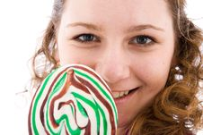 Free The Girl With A Sugar Candy Isolated On A White Stock Images - 4571954