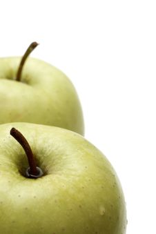 Free Juicy Green Apples On White Stock Photography - 4573162