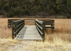Free Wood Dock On A Dry Riverbed With Weeds Royalty Free Stock Images - 4573359