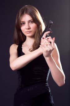Free Lady And Gun Stock Photo - 4573690