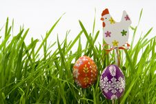 Free The Easter Eggs In Grass Stock Photography - 4576262