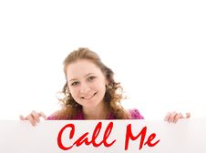 The Happy Girl With A Poster Isolated On A White Stock Photography