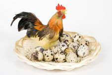 Free Cock And Eggs In A Nest Royalty Free Stock Photography - 4577577