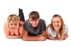 Free Boy And Two Girls Lying Royalty Free Stock Photo - 4577825