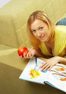 Free The Attractive Girl & Red Apple Stock Photography - 4579502