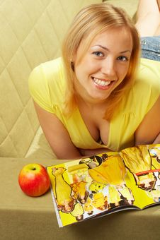 Free The Attractive Girl & Red Apple Stock Photo - 4579510