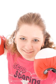 Free The Beautiful Girl With Boxing Gloves Isolated Stock Images - 4579704