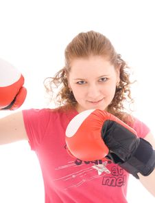 Free The Beautiful Girl With Boxing Gloves Isolated Royalty Free Stock Photo - 4579715