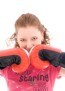 Free The Beautiful Girl With Boxing Gloves Isolated Stock Photos - 4579723