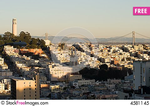 Free Coit Tower At Sunset Royalty Free Stock Photo - 4581145