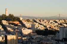 Coit Tower At Sunset