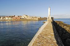 Free Light Tower In The Harbour Of Chania Royalty Free Stock Photo - 4583155