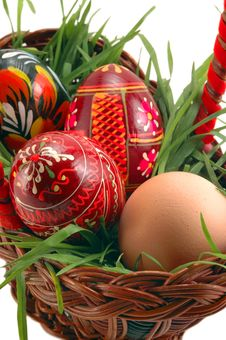 Free Easter Eggs In Basket With Grass Royalty Free Stock Photo - 4583855